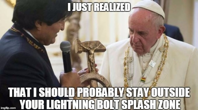 Pope Francis - Commie Crucifix lightning