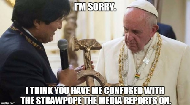 Pope Francis - Commie Crucifix strawpope