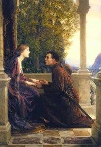 Medieval man kneeling before lady
