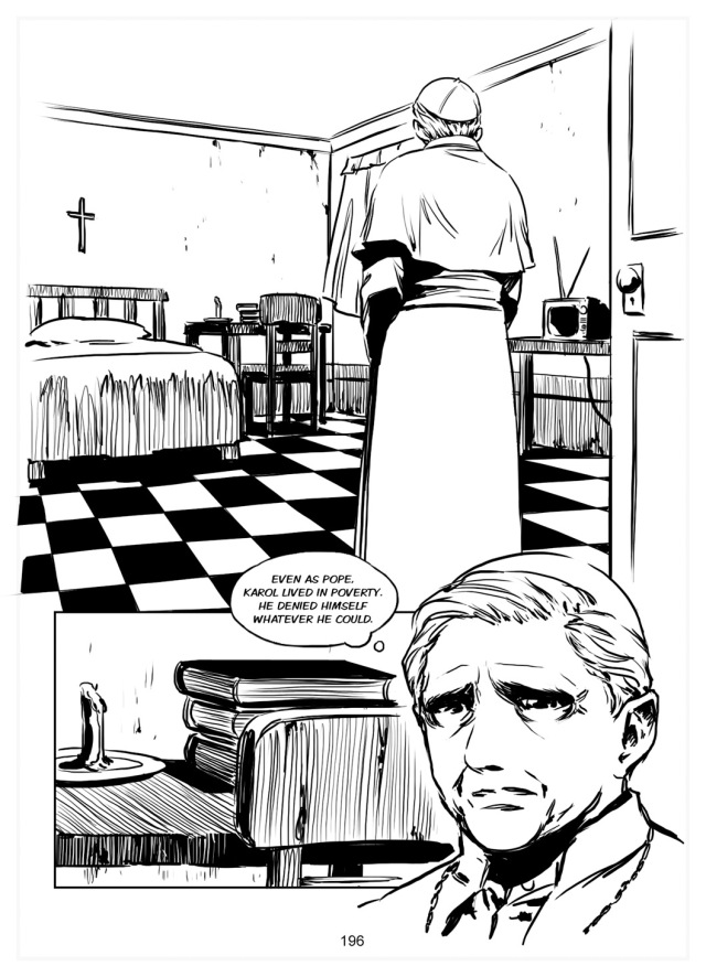 A page from the manga biography of Benedict XVI. This shows Benedict's first sight of his new home as the Bishop of Rome, exactly as John Paul II had left it. He made the decision to live exactly as his friend and predecessor had lived, with only one exception: he added a stereo to listen to classical music. Extravagance! (Click on the image to buy a copy from our friends at Chesterton Press. It's a great book.)