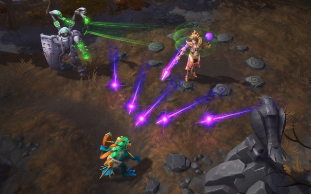 Wizard casting arcane missiles at an enemy