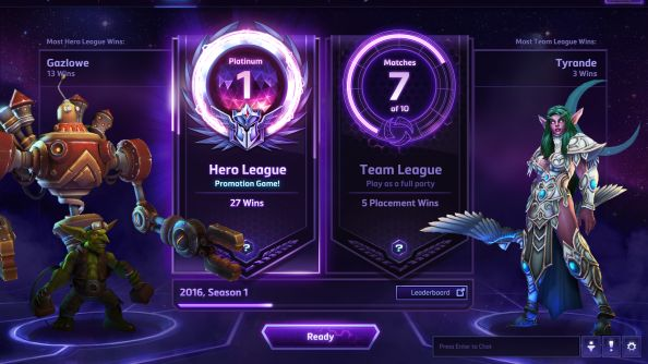 A display showing the ranked play of the game, with ranks for Hero League and Team League