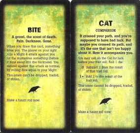 Left: an Omen card from the original game. Notice the poetic style of the flavor text. Right: an Omen from Widow's Walk. Far more straightforward flavor text.