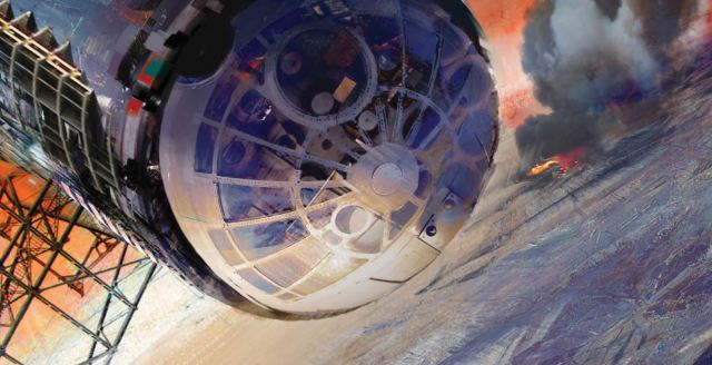 "Cover spread for the novel ""Caliban's War""; features a spaceship in orbit over a world"