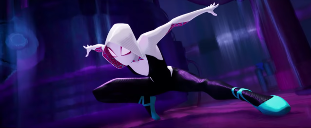 Spider-Gwen lands in a dynamic pose