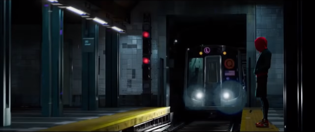 Miles, in red hoodie, stands on the subway platform as the train comes in